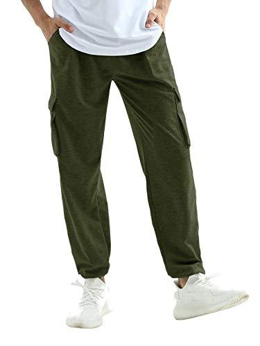 Gemijacka Jogginghose Herren Cargo Trainingshose Straight Lang Baumwolle Sporthose Sweathose Men Streetwear Grün L