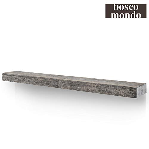 BoscoMondo Rustic Fireplace Mantel Floating Shelf - 60'' X 7'' X 3'' Solid Pine Wood - Wall Decor, Mounted Farmhouse Shelving - Invisible Heavy Duty Bracket (Grey, 60'')