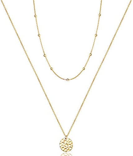 Turandoss Gold Plated Disc Necklace Layering Necklaces Handmade Jewelry Choker Delicate Necklace product image