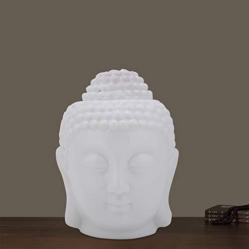 Oumefar Soporte para candelabro Juego de candelabro de cerámica con Forma de Cabeza de Buda para jardín, Regalo, Yoga, hogar, Dormitorio, decoración
