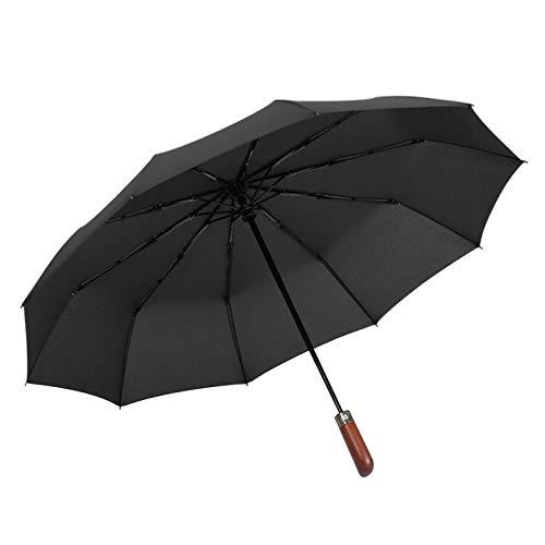 Paraguas automático con mango de madera y cierre abierto, a prueba de...