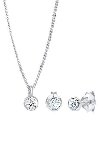 Elli Schmuckset Damen Klassisch Schlicht mit Kristalle aus 925 Sterling Silber