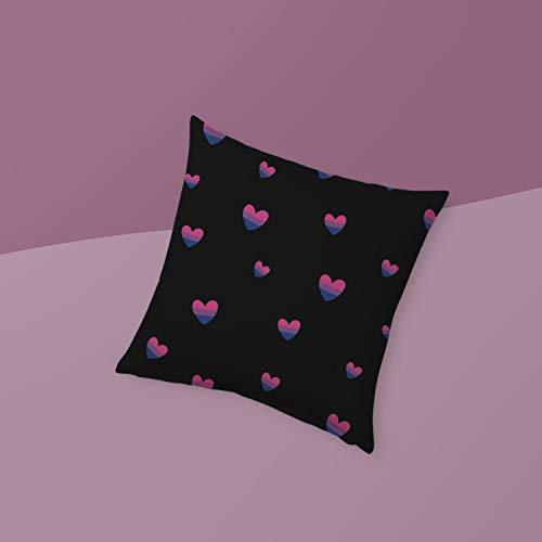 Qui556 Biseksueel Pride Kussen Bi Vlag Harten Biromantisch Gooi Kussen Roze Paars Blauw