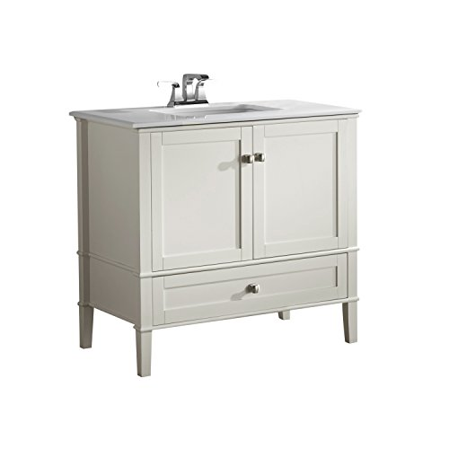 SIMPLIHOME Chelsea 36 inch Contemporary Bath Vanity in Soft White with White Engineered Quartz Marble Top with Storage Compartment and 1 drawer, for the Bathroom, Contemporary