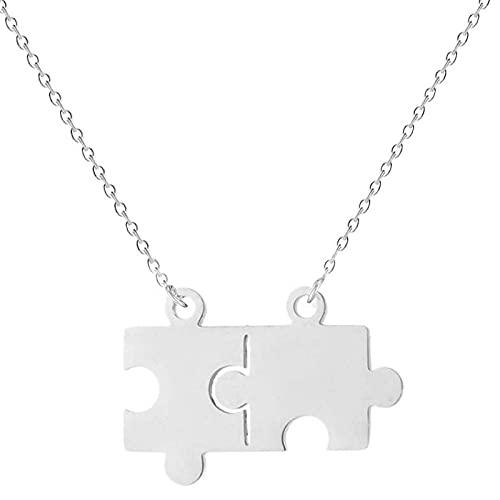 Collar De Acero Inoxidable Jigsaw Sisters, Colgante Con Letras Para Parejas, Un Regalo Conmemorativo De Vacaciones Para Amigos Y Familiares Masculinos (Femeninos)