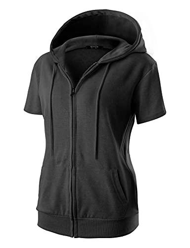 GIVON Womens Comfortable Short Sleeve Lightweight Zip-up Hoodie with Kanga Pocket/DCF256-BLACK-M