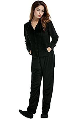 Hotouch Adult Pajamas One Piece Plush Onsies Sleepwear Black XXL from