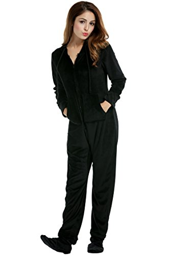 Hotouch Womens Adult Onesie Adorable Coral Cashmere Hooded One Piece Pajama Black L