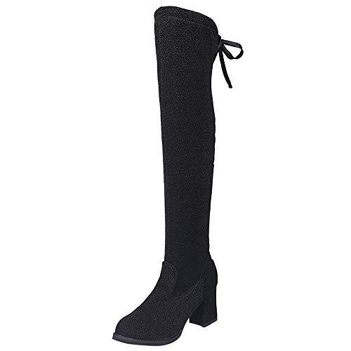 Botas Altas para Mujer Botas de Tobillo de Mujer Hebilla Delgado Alto sobre la Rodilla Recortar Plano Casual Zapatos Negro Gris Verde Zapatillas con Lentejuelas Botines LMMVP (Ropa)