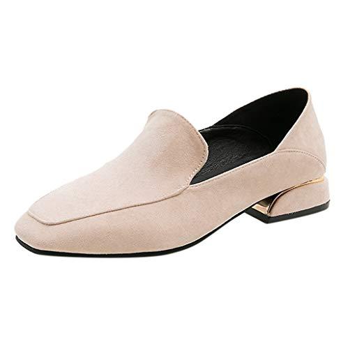 ZHANSANFM Mokassins Damen Quadratisches Wildleder Schuhe Klasische Sommer Slip On Atmungsaktiv Weichem Slippers Halbschuhe Einfarbige Erbsenschuhe Loafers (40 EU, Beige)