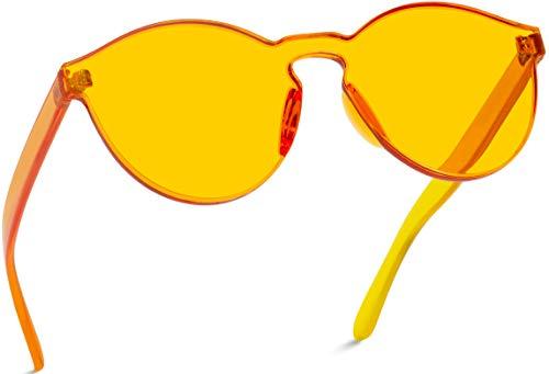 WearMe Pro - Colorful Transparent Round Super Retro Sunglasses (Orange, 58)