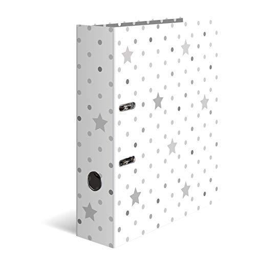 HERMA 7193 Motiv-Ordner DIN A4 Sterne - Weiß mit grauen Sternen, 7 cm breit aus stabilem Karton mit hochwertigem Innendruck, Ringordner, Aktenordner, Briefordner, 1 Ordner