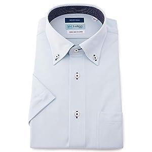 [アイシャツ] i-shirt 完全ノーアイロン ストレッチ 超速乾 レギュラーフィット 半袖 アイシャツ ワイシャツ メンズ サックス 半袖ボタンダウン ドビー M16220001081 日本 M(首回り39cm) (日本サイズM相当)