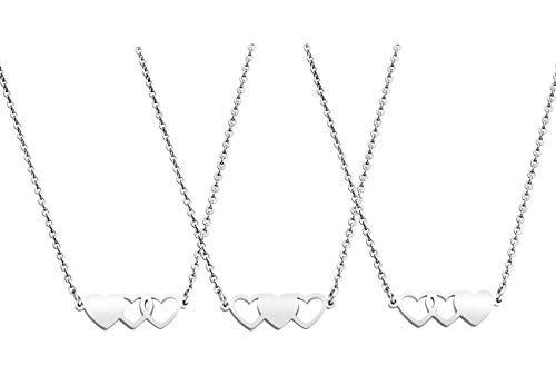 JINGMARUO 3 Sisters Bracelets Best Friends Necklace for 3 Set of 3 Heart Bracelets 3 BFF 3 Bestie Long Distance Friendship Gift (3 Necklaces--S)