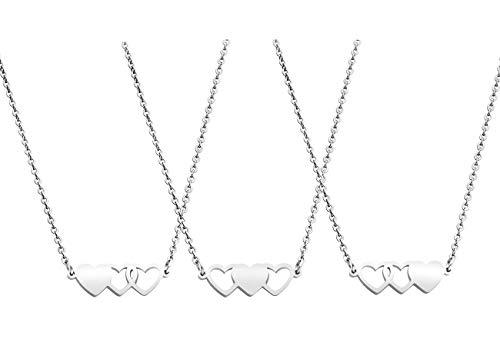 JINGMARUO 3 Sisters Bracelets Best Friends Necklace for 3 Set of 3 Heart Bracelets 3 BFF 3 Bestie Long Distance Friendship Gift (3 Necklaces-S)