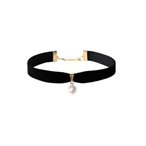 FENICAL Velvet Choker Halskette Single Pearl Choker Gothic Choker Halskette mit Perle Anhänger für Frauen Mädchen (schwarz)