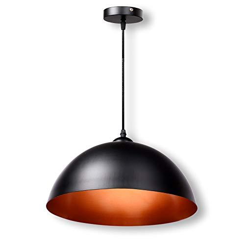 Schramm® Retro Hängeleuchte in schwarz innen Gold Deckenleuchte Pendel Lampe Vintage für Wohnzimmer Esszimmer Restaurant