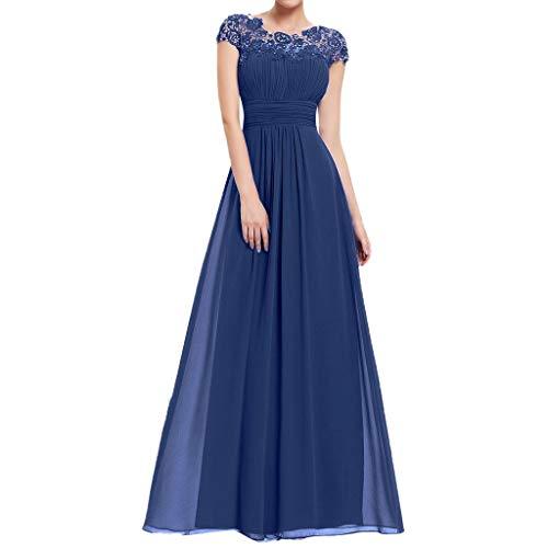 Voicry Frauen Blumen Formale Spitze Vintage Kurzarm schlanke Hochzeit Maxi-Kleid (Blau,EU:34/CN:S)