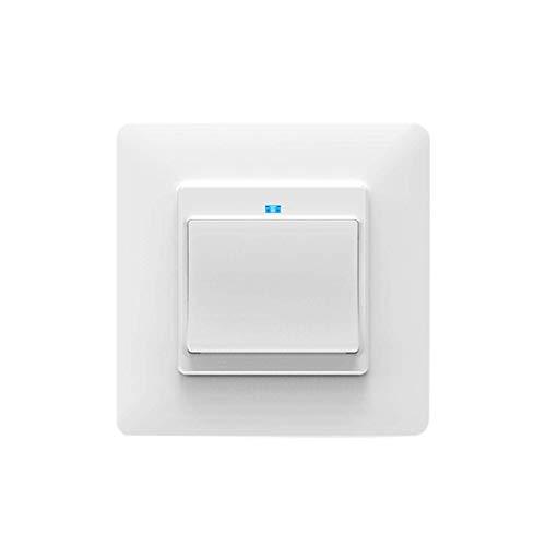 Kaxofang WiFi Light Switch Push Button Life/Tuya APP el Control Remoto Funciona con Alexa Home para Control de Voz 1 Gang(EU Plug)