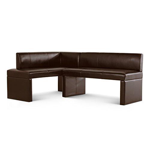 SAM Eckbank Toulouse I, braun, 180x130 cm, Sitzbank mit Rückenlehne aus Samolux-Bezug