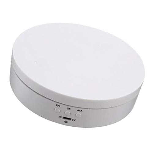 Milageto Elektrischer Drehteller 360 ° Drehbar Drehdisplay, Drehzahl Verstellbar, für Präsentation von Handys, Uhren Und Schmuck - Weiß