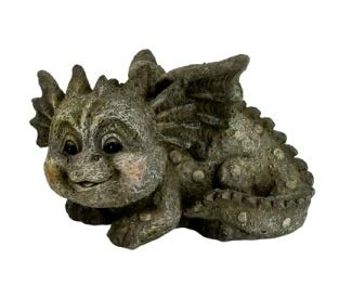 E+N Garten-Drache Garten-Figur Garten-Deko Drache-n-Kind liegend lächelnd, HxB: 14 x 23 cm, Polyresin Outdoor