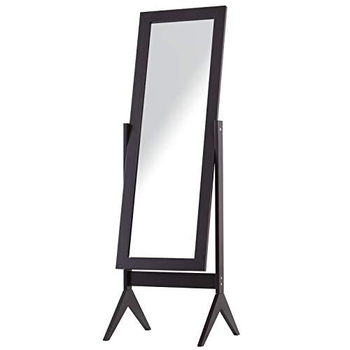 HOMCOM Freestanding Dressing Mirror Bedroom Tall Adjustable Angle 148x47cm Dark Brown