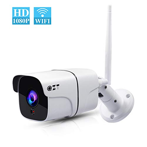 Cámara de Vigilancia Exterior, QZT Cámara IP WiFi HD 1080P con Visión Nocturna, IR LED Motion Detection 2-Way Audio, Impermeable...