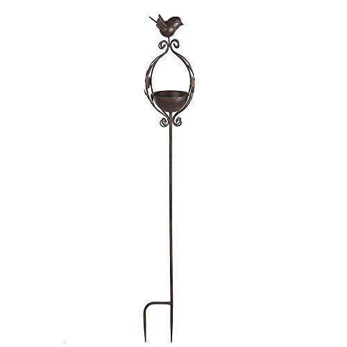 linoows Retro Vogeltränke, Vogelbad zum stecken mit Vögelchen aus Eisen