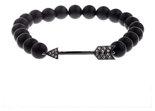 Pulsera de piedra, 7 chakra 8mm perlas de piedra natural de la ágata brazalete elástico negro joyería de la flecha de la joyería de la piedra de nacimiento de la banda de nacimiento de la yoga reiki D