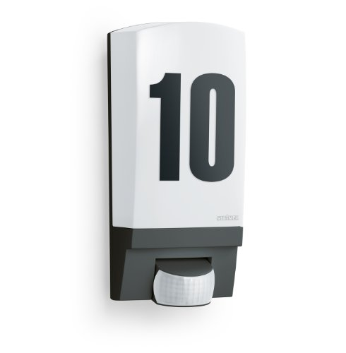Steinel Applique murale L1 avec numéro de maison - Luminaire extérieur avec détecteur de mouvement 180° - Lampe extérieure 60W avec capteur de présence, noir