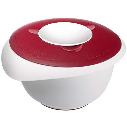 Westmark Rühr-/Backschüssel mit zweigeteiltem Deckel, 2,5 l, Mit Ausgießer, Kunststoff, Weiß/Rot, 3153227R