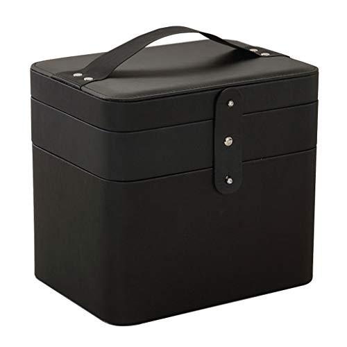 Sac cosmétique Multi-Fonctionnel Sac de Stockage cosmétique Multi-Fonctionnel Simple portatif Sac cosmétique portatif (Color : Black, Taille : Double Layer)