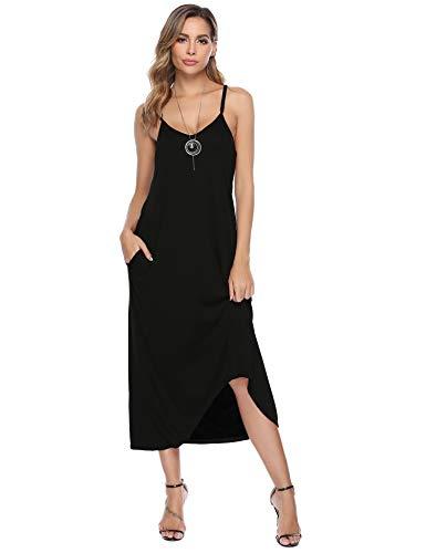 Aibrou Damen Einfarbige Lange Nachthemd Lässige Träger Nachtkleid Rundhals, irreguläre Saum Schwarz L