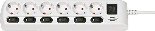 Brennenstuhl Steckdosenleiste einzeln schaltbar 6-fach mit 2-poligen Schaltern (Steckerleiste mit 1x Hauptschalter und 6x Geräteschalter, Mehrfachsteckdose 2m Kabel, erhöhter Berührungsschutz),, Weiß