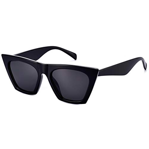 Mosanana Square Cateye Sunglasses for Women 2021 2019 Trendy Fashion Black Retro Vintage Cat Eye frames Lady angular chunky rectangle cool cute blackout clout funky stylish small unique 90s MS51801