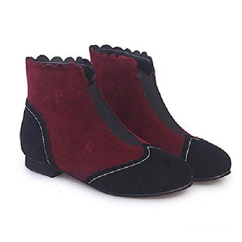 LXWS Botines para Mujer Botines Planos Martin de Gamuza Bota para Caminar de Gran tamaño Zapatos Individuales de Moda con Punta Redonda,Red-40