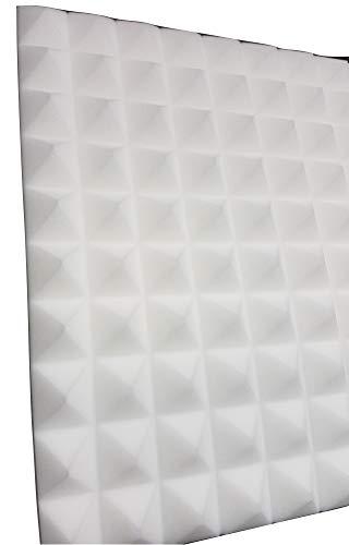 Pyramiden Noppenschaumstoff,Akustik Schaumstoff, Akustikschaumstoff, Pyramiden Akustik, Dämmung alle Farbe Weiß,Anthrazit,Lila,Orage,grün,Rot, (99 x 99 x 4 cm, Weiß)