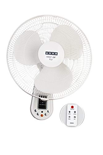 USHA Mist Air ICY with Remote 400 mm, Smart Wall Fan, 3 Intelligent Wind Modes, Sleep Timer
