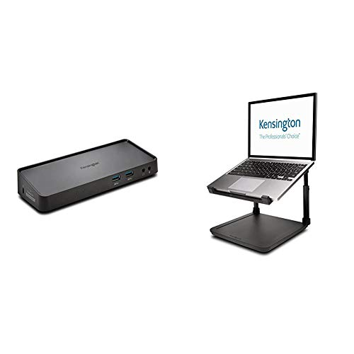 Kensington (SD3600) USB 3.0 Dual Display Universal Laptop Docking Station & Laptop Riser - Ergonomic Laptop Stand for Home Office (up to 15.6 inch) with Anti-Skid Design (K52783WW)