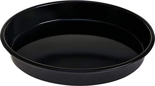 Dekonaz | Titan | Backblech | Pizzablech | Fettpfanne | Universalpfanne | aus Emaille | Rund | Large| Ø 42cm | Schwarz |