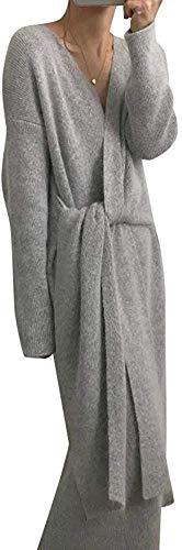 Guajave mit Gürtel Kaschmir Pullover Kleid Damen Mode Büro Damen V Kragen Langärmlig Strickkleid - grau, One Size