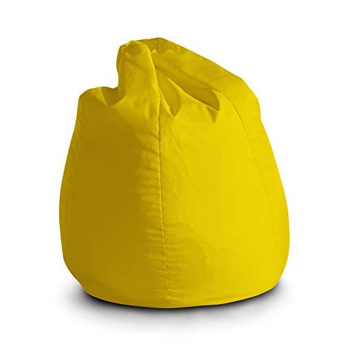 Pouf Poltrona Sacco per Bambini Bag Jive 65x65x90cm Made in Italy in Tessuto antistrappo Imbottito Colore Giallo Limone