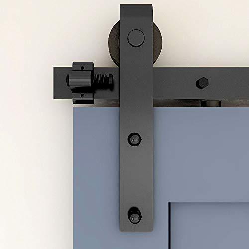 274CM Schiebetürbeschlag Set, Schwarzes Schienenset passend für eine einzelne Holztür, J-Form