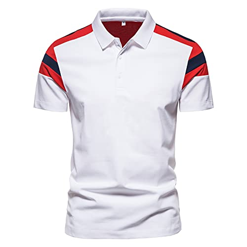 Herren Color Block Polo Shirts Sommer Casual Patchwork Polos Kurzarm Slim Fit Shirts mit Knopf