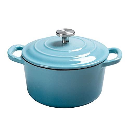 QIXIAOCYB Freidora Cazuela de hierro fundido redondo, olla de sopa de cacerola pequeña para 2-3 personas, cacerola antiadherente con tapa y fondo antideslizante Cazuela (Color : Blue)