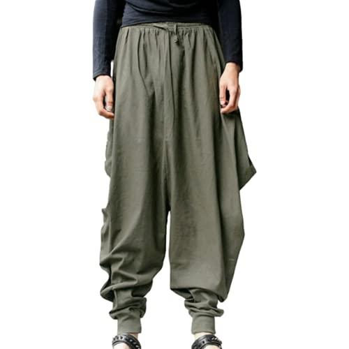 Huntrly Pantalones Casuales para Hombre, diseño de Moda Retro, Pantalones Harem de Tendencia Suelta con cordón, Cintura elástica, pies con viga, Bombachos Casuales 5XL