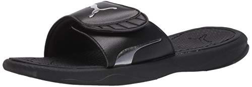 PUMA Women's Royalcat Slide Sandal, Black/Silver, Numeric_6