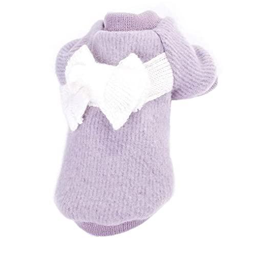 sevenjuly Cálido Cachorro Capucha suéter del Perro Ropa de Color Gris Linda Chaqueta Mascotas Arco suéter Perro géneros de Punto (XL), Pet Supplies
