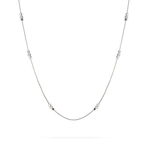 Collana girocollo in argento sterling da 3 mm con perle bianche opaline per donne ragazze - estensione 14 + 2 pollici
